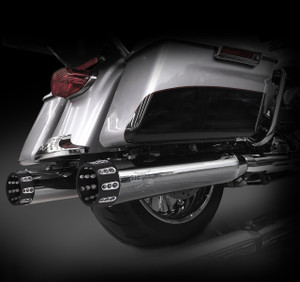"RCX Exhaust 4.5"" Slip-on Mufflers for 2017 Harley Touring, Chrome with Gatlin Eclipse Tips."