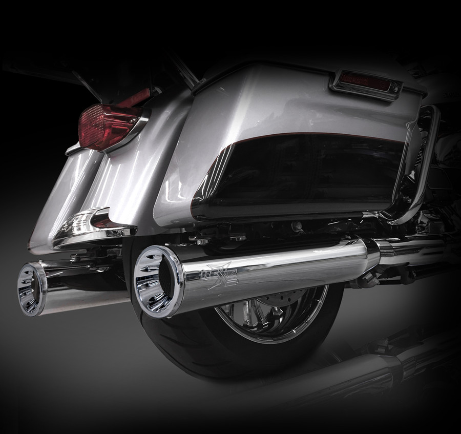 """RCX Exhaust 4.5"""" Slip-on Mufflers for 2017 Harley Touring, Chrome with Torx Chrome Tips."""