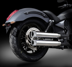 "Victory Octane RCX 3.0"" chrome mufflers with Rival Chrome tips."