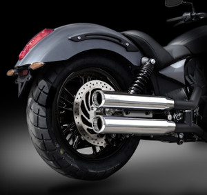 "Victory Octane RCX 3.0"" chrome mufflers with Rival Shorty Chrome tips."