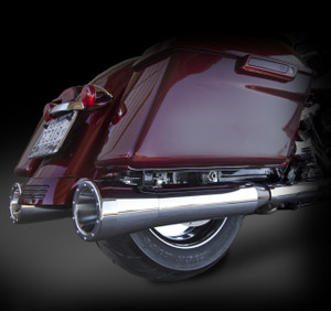 """RCX Exhaust 4.0"""" Slip-on mufflers for 2017 HD Touring models fitted with the RCX 5.0"""" Big Boar tips."""