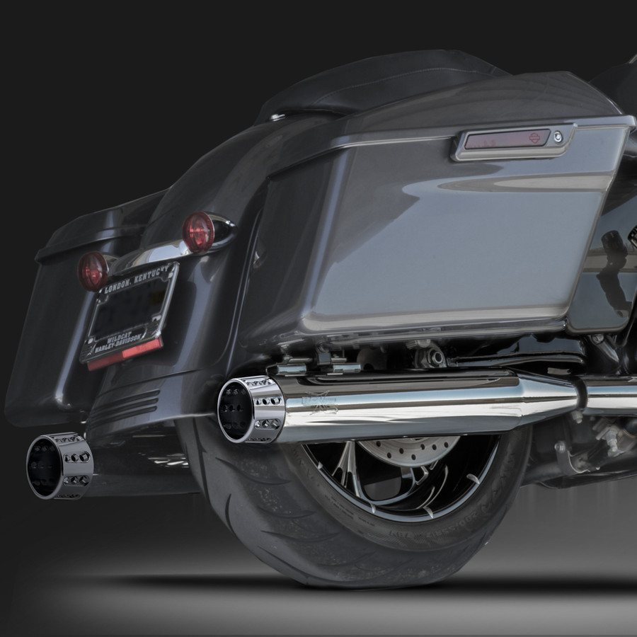 "RCX Exhaust 4.0"" Slip-on Mufflers, Chrome with Gatlin chrome tips."