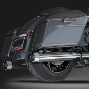 "RCX Exhaust 4.0"" Slip-on Mufflers, Chrome with Blitz chrome tips."