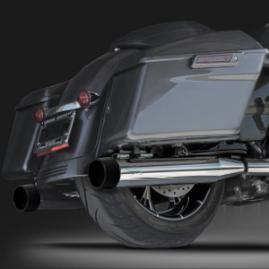 "RCX Exhaust 4.0"" Slip-on Mufflers, Chrome with Blitz black Tips."