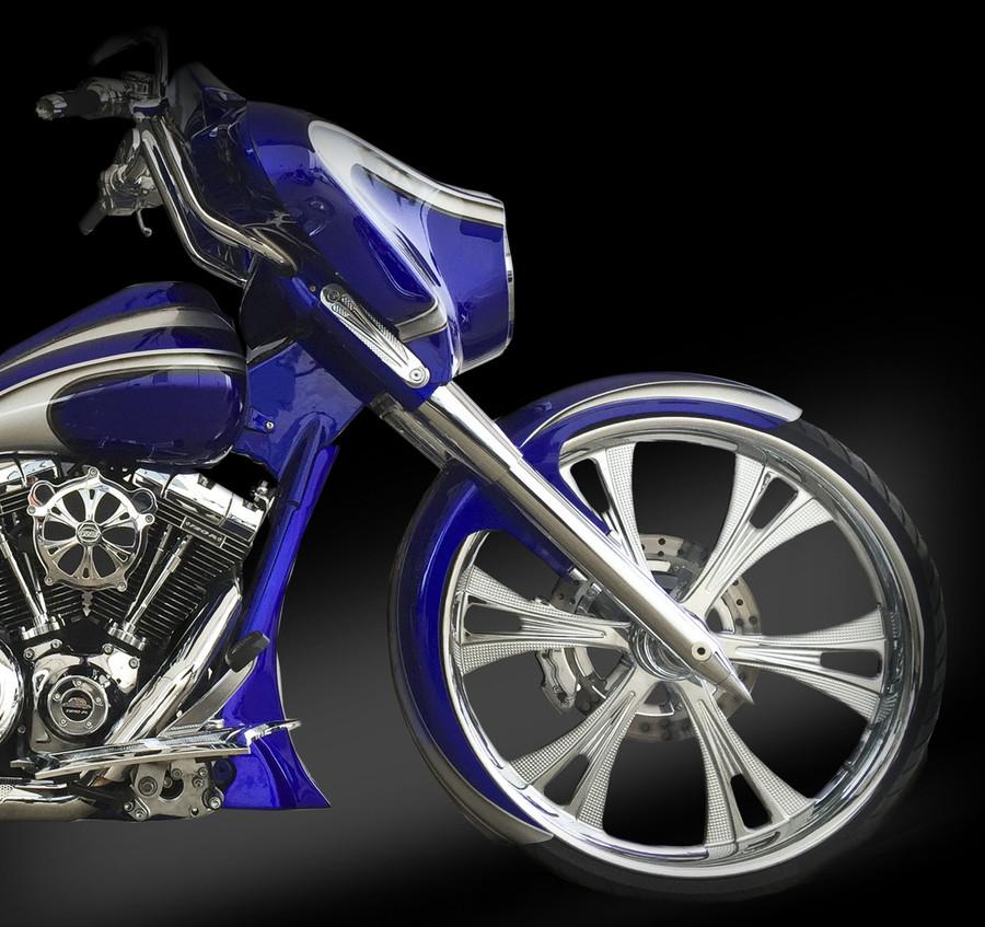 16 gauge, steel fender kit for 26x3.75 front wheel for H-D Touring Models. Choose from chrome or black fender brackets.