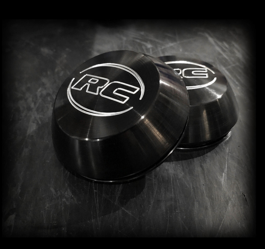 "STD Center Caps- Black Anodized- 1"" depth, included with purchase of 15"" and 17"" front wheels."