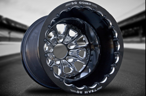 """RC Comp """"Deuce"""" 2.0"""" Offset Center Race Wheel, shown with Eclipse finish center and beadlock ring and a solid black outer rim."""