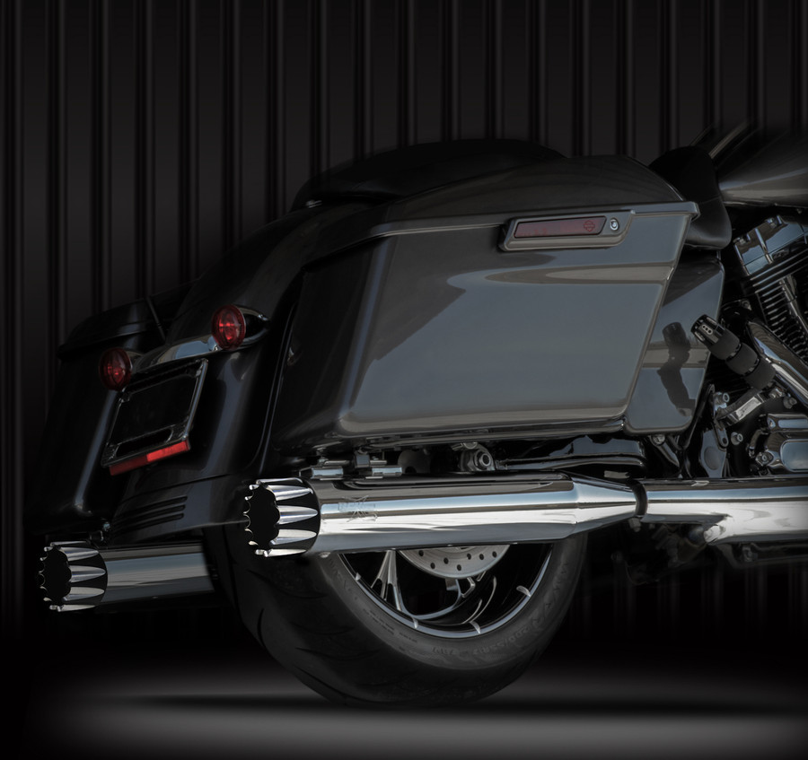 """RCX Exhaust 4.0"""" Slip-on Mufflers, Chrome with Excalibur Eclipse Tips."""