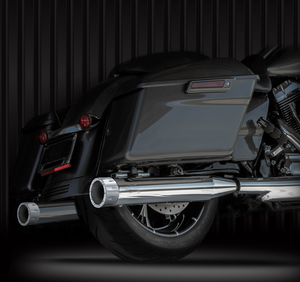 """RCX Exhaust 4.0"""" Slip-on Mufflers, Chrome with Rival chrome tips."""