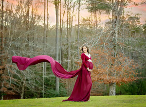 Josephina Maternity Gown with Long Sleeves, Sweetheart Neckline, Burgundy