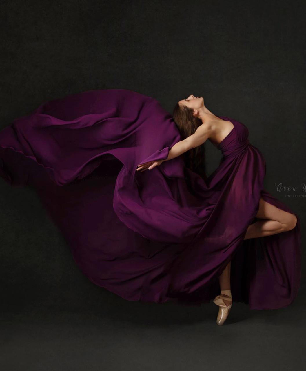 4e0f24c439 Caroline Infinity Full Circle Chiffon Maternity Dress with Long ...