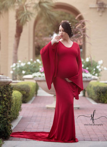 Thea Maternity Gown with Bell Sleeves