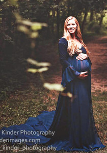 Fiona Full Circle Chiffon Navy Maternity Dress with Bell Long Sleeves, Sweetheart Neckline, On shoulders