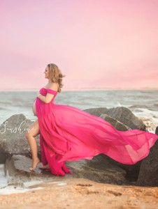 Adeline Full Circle Chiffon Maternity Dress with Train, off shoulder dropped sleeves, sweetheart neckline