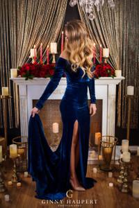 Scarlet Velvet Royal Blue Bridesmaids Dress, Engagement Dress