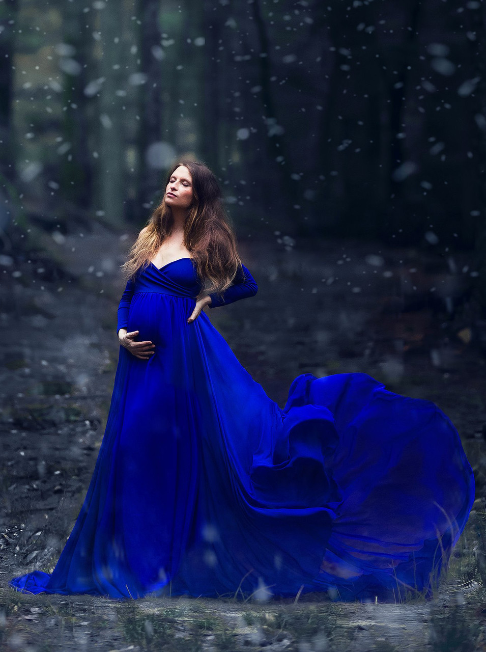 ec0e8b9c491 Camille Royal Blue Maternity Dress