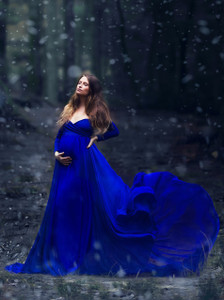 Camille Royal Blue Maternity Dress, Full Circle, Off shoulders, long sleeves, short slip, champagne, elopment dress