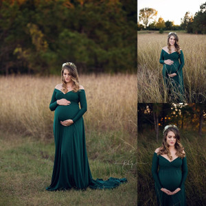 Darah Maternity Dress, Forest Green Maternity Gown with long sleeves, sweetheart neckline, half circle