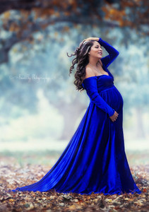 a64a9064b77 Darah Velvet Royal Blue Maternity Dress