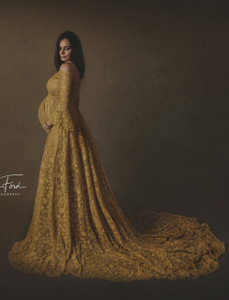 Alice Gold Lace Maternity Gown, Off Shoulders, A line, long train, sweetheart neckline, Bell Sleeves
