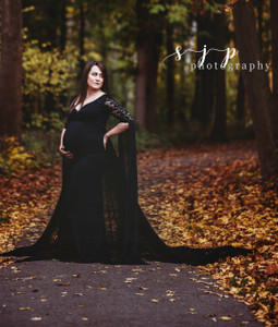 Melanie Lace Maternity Dress, Floor Length Open chiffon Sleeves, Long train