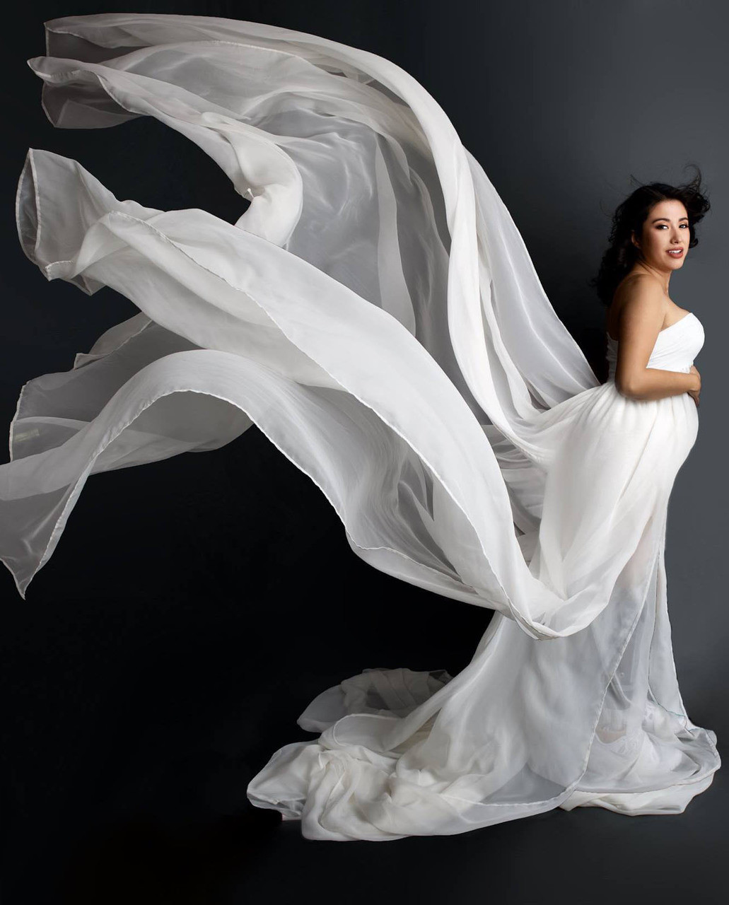 58177ad34d2da Claudia Ivory Maternity Dress with Double train. Price: $158.00. Image 1