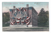 Belfast, Maine Postcard:  Post Office Decorated in Flags for Old Home Week