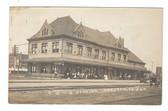 Creston, Iowa Real Photo Postcard:  C. B. & Q. Railroad Station