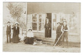 Wirt, Minnesota Real Photo Postcard:  People Outside Store Being Built