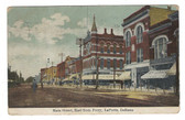 LaPorte, Indiana Postcard:  Main Street, & Ice Cream Soda Sign