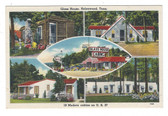 Helenwood, Tennessee Postcard:  Glass House & Esso Gas Station