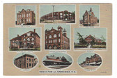 Amherst, Nova Scotia, Canada Postcard:  Multiview Including Railroad Station