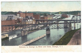 Oswego, New York Postcard:  Entrance to Oswego by River and Canal