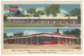 Rahway, New Jersey Linen Postcard:  Motel Tourist Village