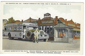 Syracuse, New York Postcard:  Red Snapper Inn & Barbecue, & Martz Bus Lines Bus