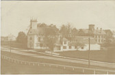 Alfred, Maine Real Photo Postcard:  Church, School, & Court House