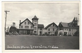 Greenville, Maine Real Photo Postcard:  Sanders Store & Mobil Gas Station
