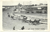Brockton, Massachusetts Postcard:  At the First Turn Harness Racing, 1905 Brockton Fair