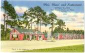 Dunn, North Carolina Postcard:  Ma's Motel, Restaurant, & Amoco Gas Station