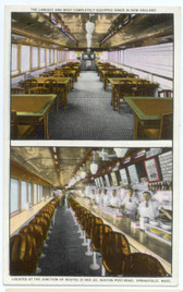 Springfield, Massachusetts Postcard:  2 Interior Views of Sam's Diner