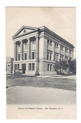 New Rochelle, New York Postcard:  Library and Masonic Temple
