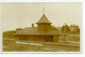 Ashland, Ohio Real Photo Postcard:  Erie Railroad Station