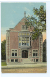 Bennington, Vermont Postcard:  The Masonic Temple