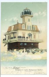 Bridgeport, Connecticut Postcard:  Lighthouse in Winter
