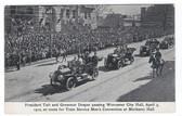 Worcester, Massachusetts Postcard:  President Taft & Governor Draper Motorcade Passing City Hall in 1910