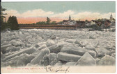 Franklin, New Hampshire Postcard:  1885 Ice Jam & Covered Bridge