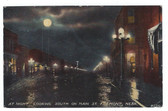 Fremont, Nebraska Vintage Postcard:  Main Street at Night