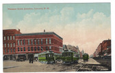 Concord, New Hampshire Postcard:  Pleasant Street Jct. & Trolleys