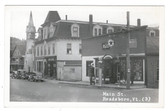Readsboro, Vermont Real Photo Postcard:  Main Street, Gas Station, & Moxie Sign