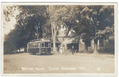South Windham, Maine Real Photo Postcard:  Waiting Room & Trolley